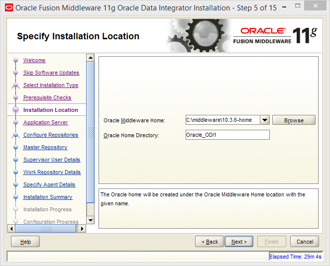 Install Oracle ODI 11g on Windows: installation location