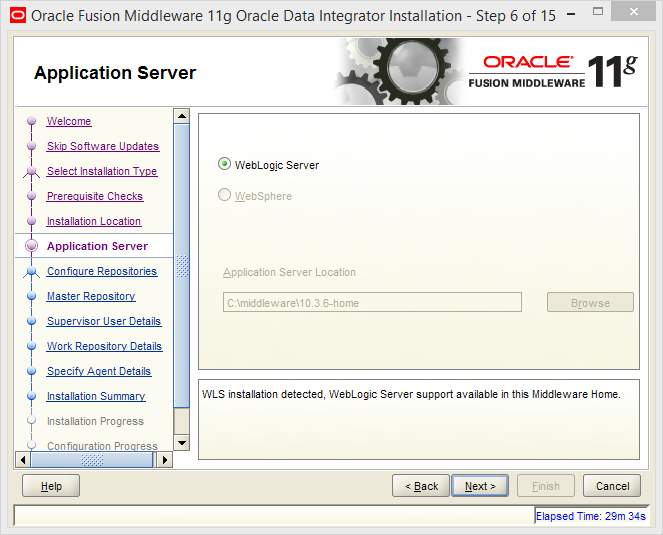 Install Oracle ODI 11g on Windows: application server