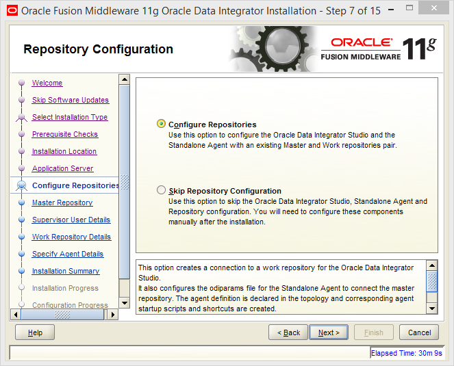 Install Oracle ODI 11g on Windows: configure repositories