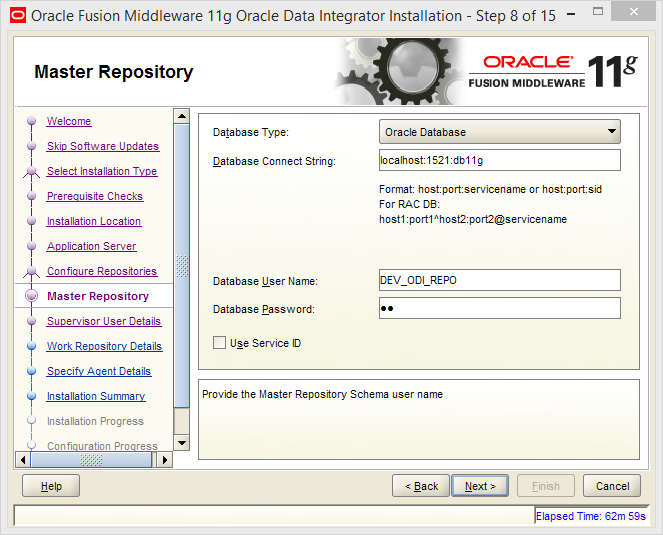 Install Oracle ODI 11g on Windows: master repository