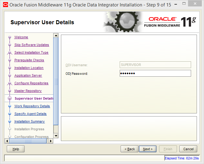 Install Oracle ODI 11g on Windows: supervisor