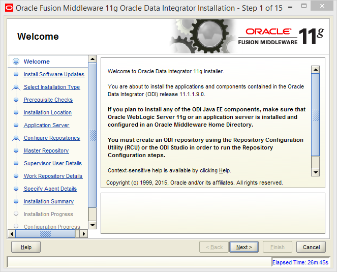 Install and Configure Oracle Data Integrator (ODI) 11g Standalone Agent : welcome