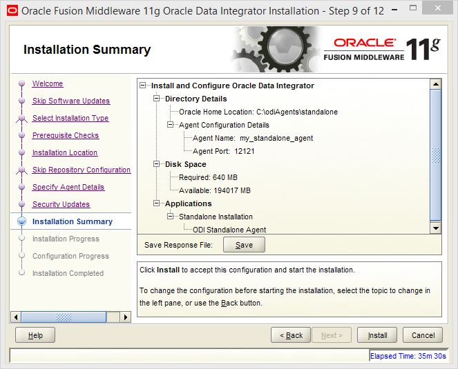 Install and Configure Oracle Data Integrator (ODI) 11g Standalone Agent : summary