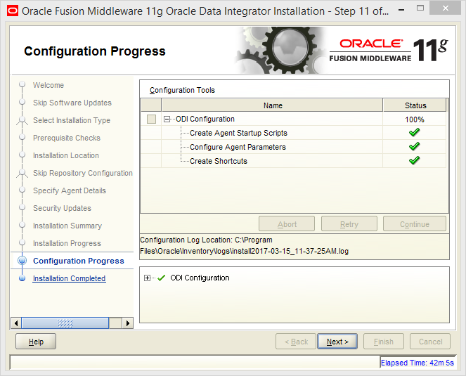 Install and Configure Oracle Data Integrator (ODI) 11g Standalone Agent : installation and configuration progress