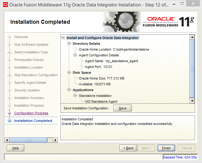 Install and Configure Oracle Data Integrator (ODI) 11g Standalone Agent : installation completed