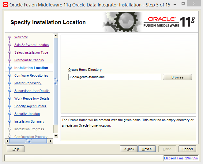 Install and Configure Oracle Data Integrator (ODI) 11g Standalone Agent : installation location