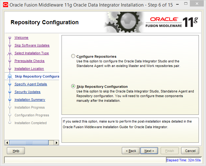 Install and Configure Oracle Data Integrator (ODI) 11g Standalone Agent : skip repository configuration