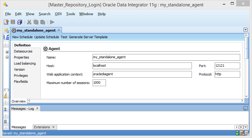 Create ODI 11g Standalone Agent into Master Repository: agent definition