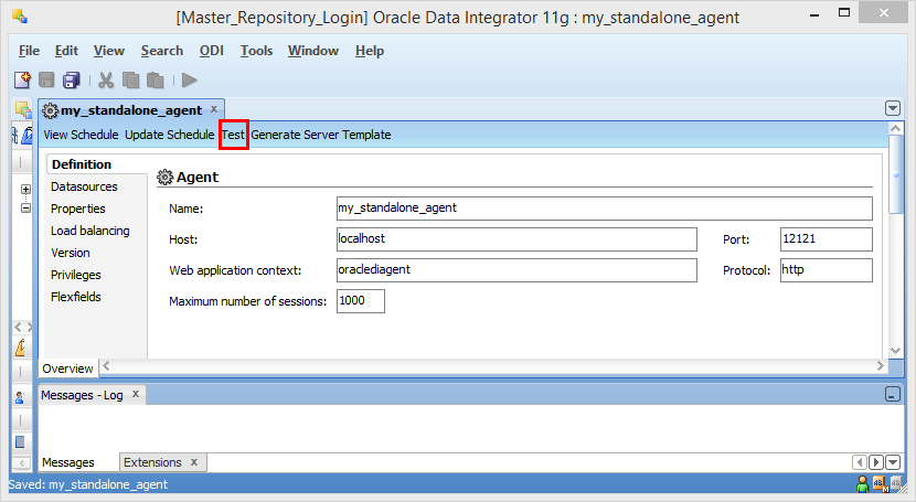 Create ODI 11g Standalone Agent into Master Repository: agent definition test