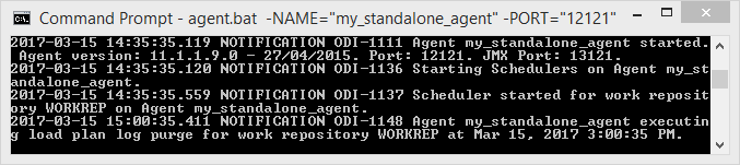 Start and Stop ODI 11g Standalone Agent: start output