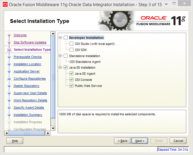 Install Java EE Agent in ODI 11g: agent installation