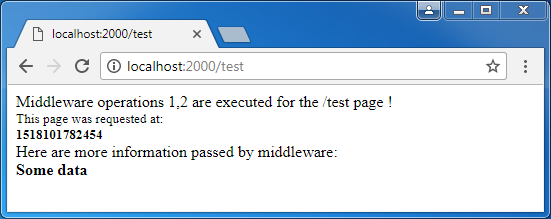 Express Middleware example: a test page
