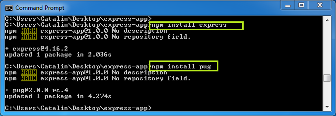 Create web pages in Express and Pug - example: install pug, express