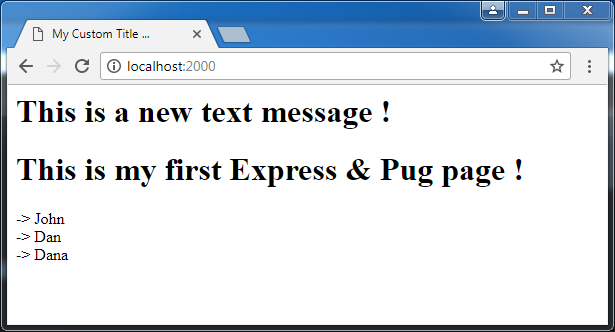 Create web pages in Express and Pug - example: see in browser