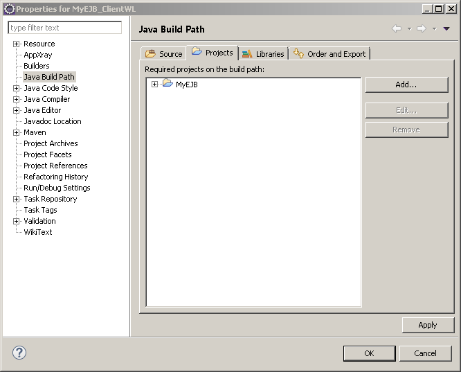 Java client application for EJB example: projects