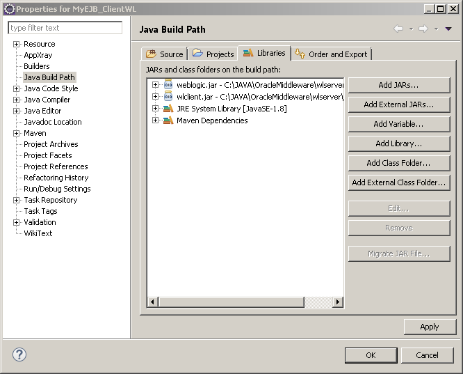 Java client application for EJB example: ejb libraries