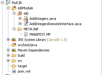 Java stateful EJB : explanation & example: project look