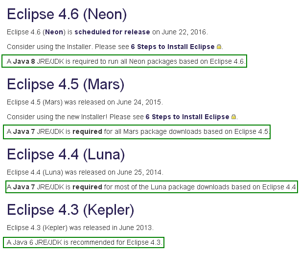 Choose Eclipse version for development/ new application: Eclipse version from JDK version