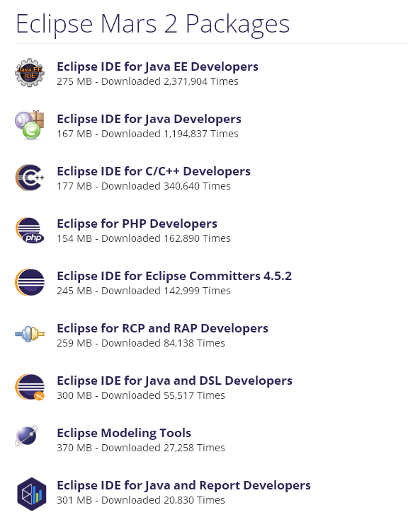 Choose Eclipse version for development/ new application: packages