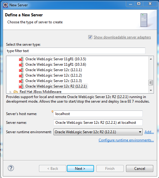 Add weblogic server to Eclipse IDE tool: Choose server type