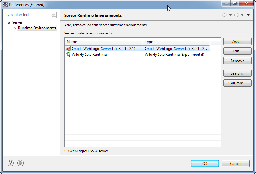 Add weblogic server to Eclipse IDE tool: set server runtime environment