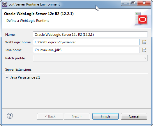 Add weblogic server to Eclipse IDE tool: set server runtime environment path
