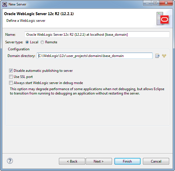 Add weblogic server to Eclipse IDE tool: add domain