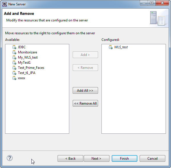 Add weblogic server to Eclipse IDE tool: add application