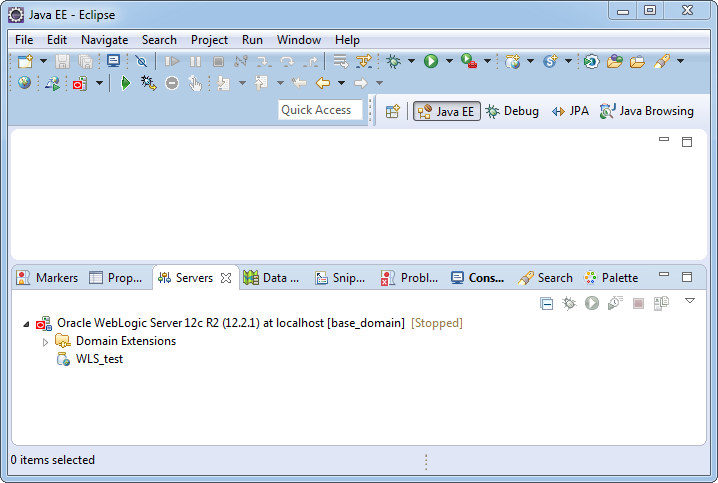 Add weblogic server to Eclipse IDE tool: added