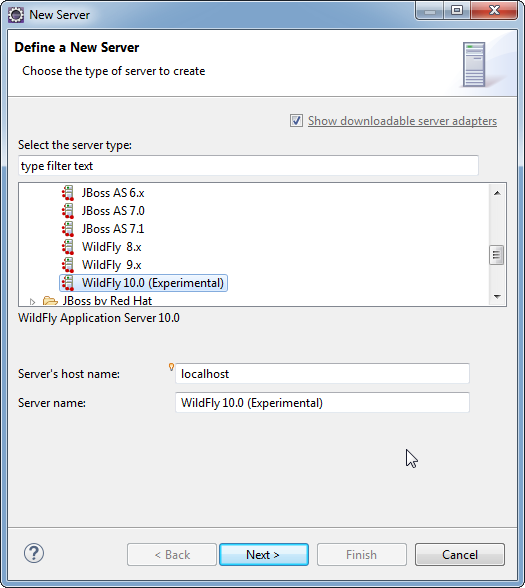 Add WildFly Server to Eclipse: Choose server type