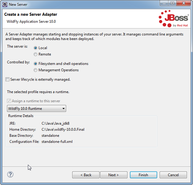 Add WildFly Server to Eclipse: create adapter