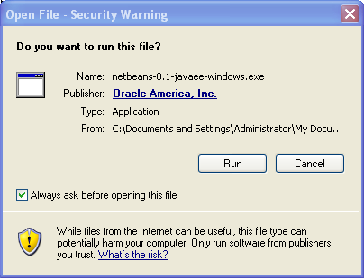 Install NetBeans on Windows: Security Warning