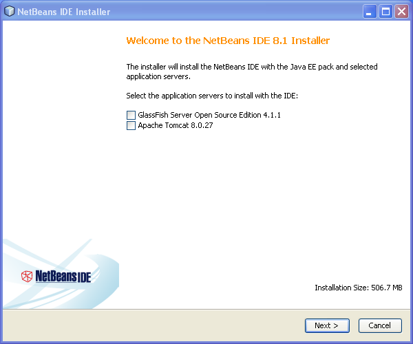 Install NetBeans on Windows: Welcome Window