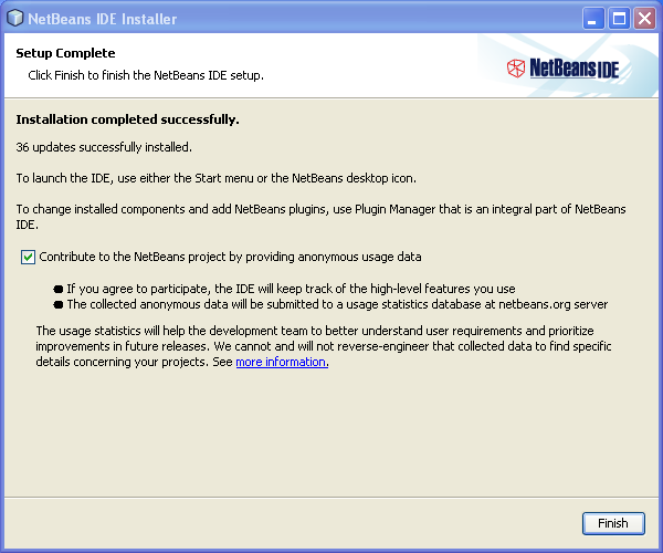Install NetBeans on Windows: Installation Complete