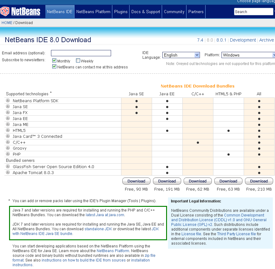 Choose NetBEans release/ version to use: archive - 8.0 information