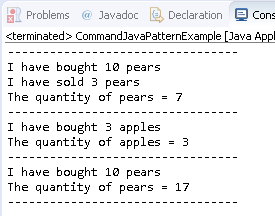 Command Design Pattern in Java : example result