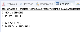 Template Method Design Pattern in Java : example result