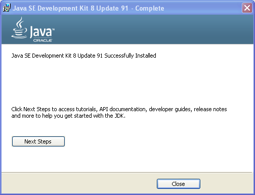 JDK setup screen - JDK install installation complete on Windows