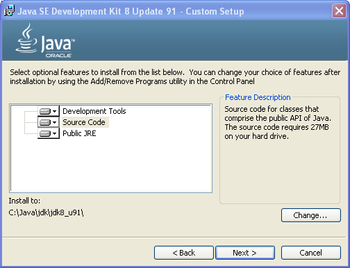 JDK setup screen - JDK features to install
