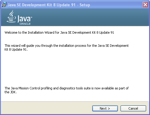 JDK installation setup screen