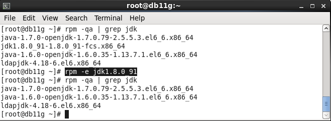 JDK uninstall rpm