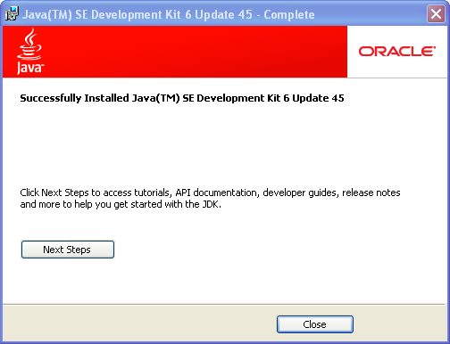 JDK 6 installation on Windows - Completed