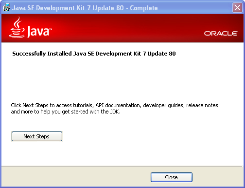 JDK 7 installation on Windows - Completed
