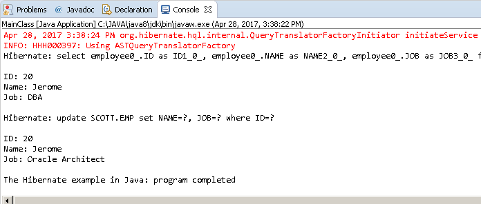 JPA: UPDATE statement in Hibernate - example: