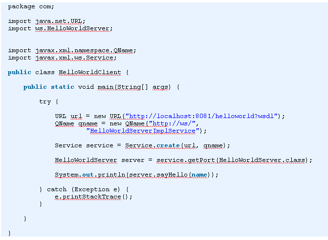 Create java Client for Web Service