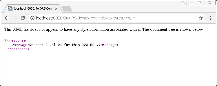 Create Java RESTful Web Service (JAX-RS) using Jersey - producing XML : result 1 without parameters