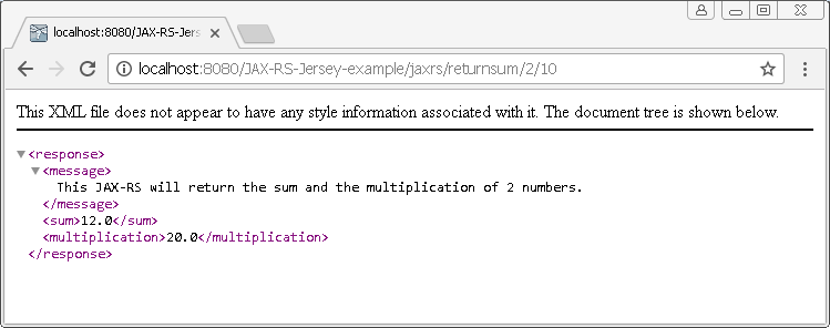 Create Java RESTful Web Service (JAX-RS) using Jersey - producing XML : result 2 - with parameters