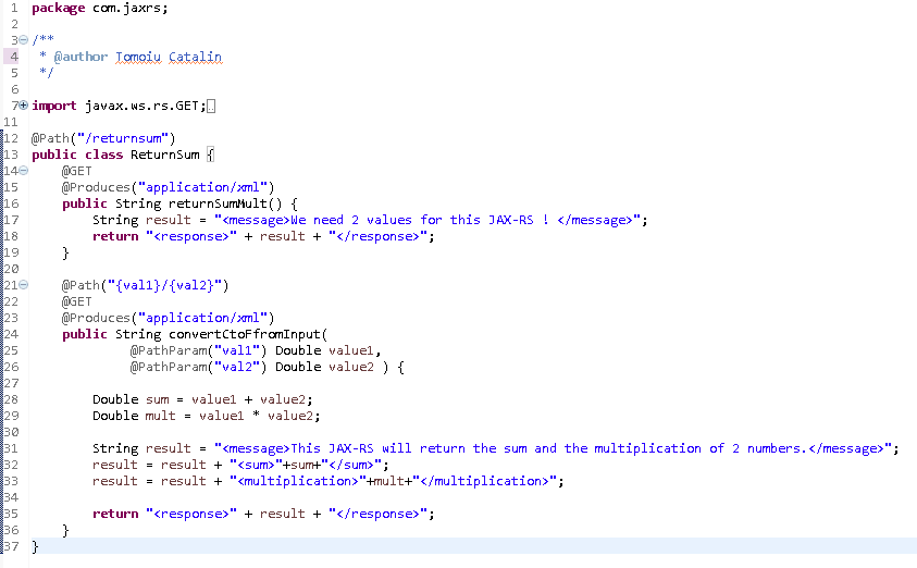 Create Java RESTful Web Service (JAX-RS) using Jersey - producing XML : java code picture