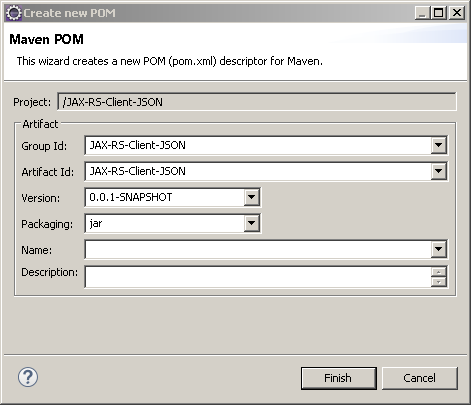 Create Java RESTful Web Service (JAX-RS) Client - using Jersey - consuming JSON : create pom