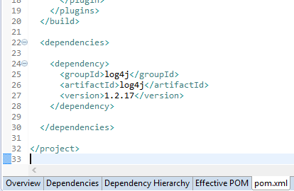 log4j configuration for java: maven pom dependencies